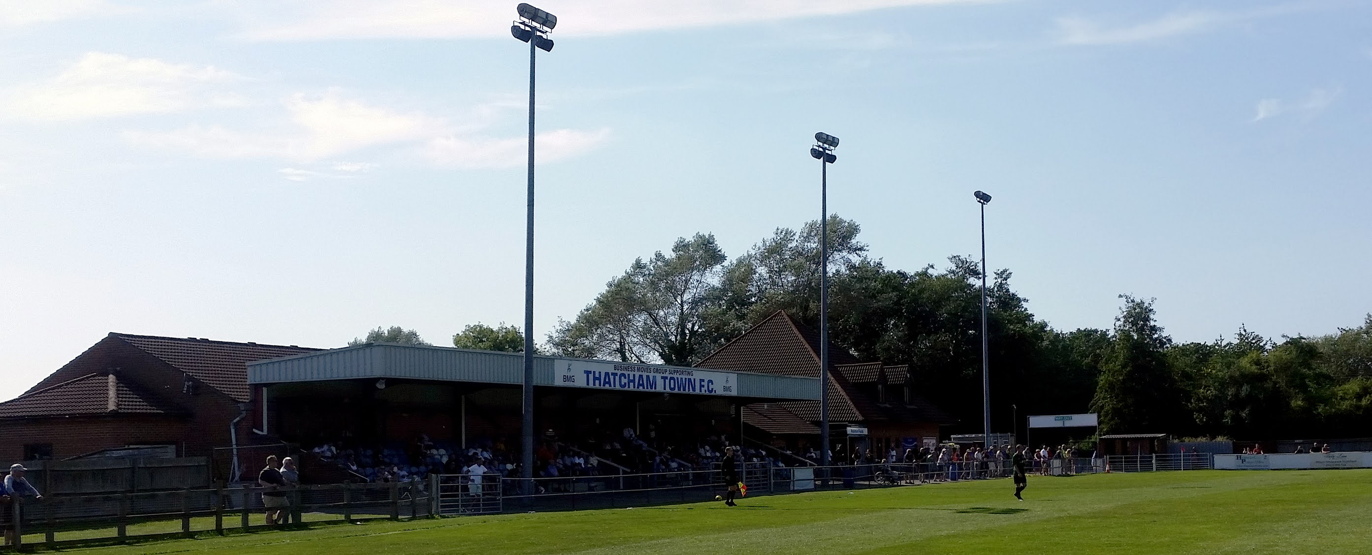 View of the main stand at the Stacatruc Stadium in Thatcham