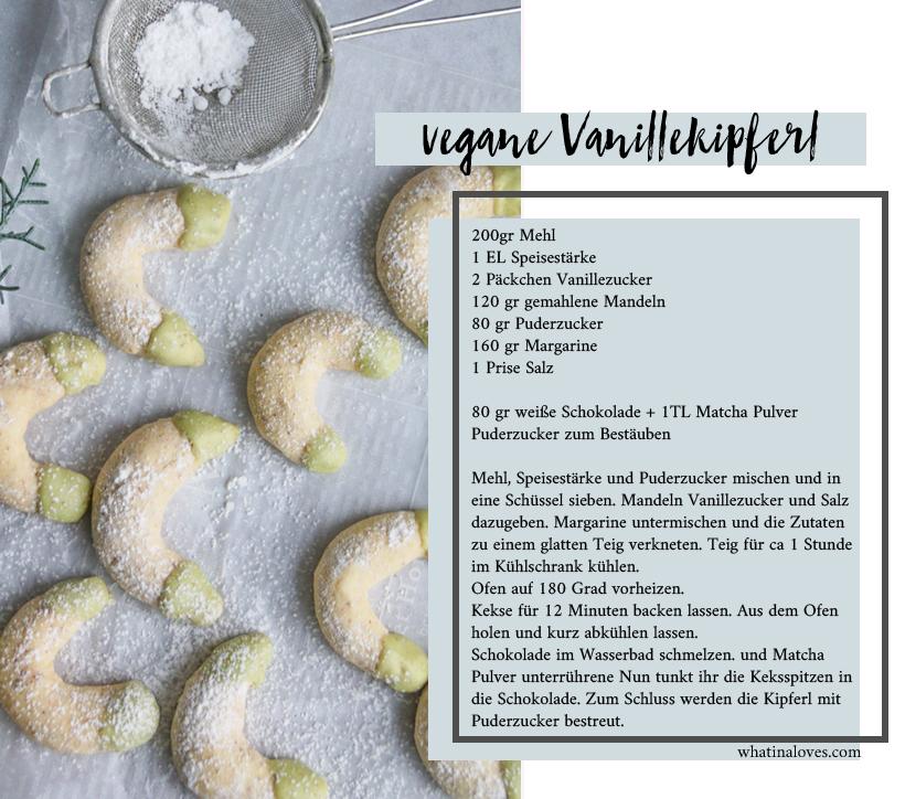 vegane Vanille-Kipferl mit Matcha