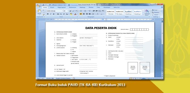 Format Buku Induk PAUD (TK-RA-KB) Kurikulum 2013