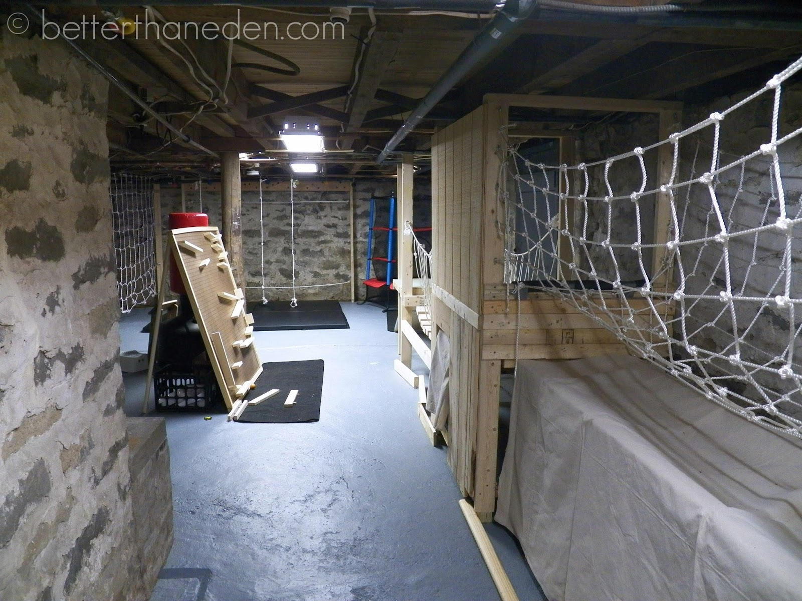 Basement Construction Ideas To Strengthen Your Basement A Basement Gym for the Boys