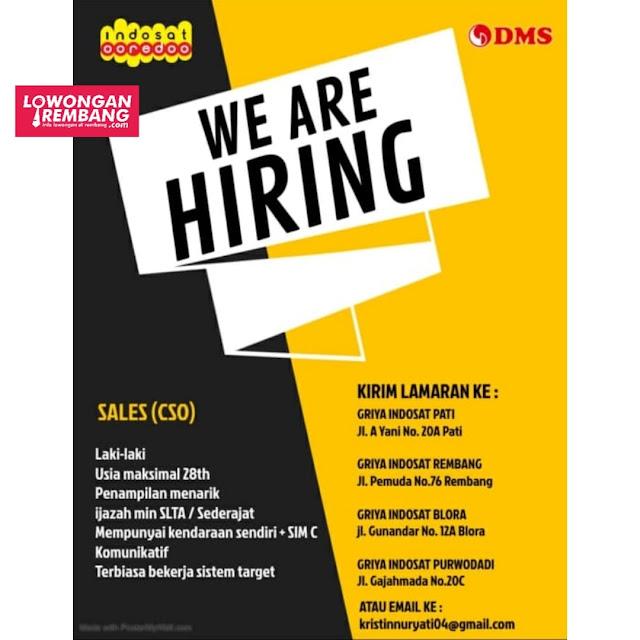 Lowongan Kerja Sales CSO PT Daya Mitra Selindo Indosat Ooredoo Rembang