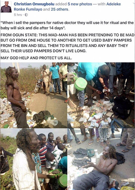 Man pretending to be mentally challenged, apprehended in Ogun State, where he gathers and sells used baby diapers to ritualists (PHOTOS)