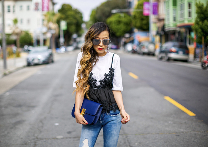 chicwish cami tee, cami top, blanknyc jeans, hush puppies Reyna Mariska Perforated Bootie Sandal, bootie sandals, celine classic box bag, baublebar drop earrings, quay sunglasses, san francisco street style, san francisco fashion blog