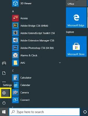 Windows 10 Settings button