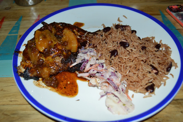 Caribbean food, chicken, rice and peas