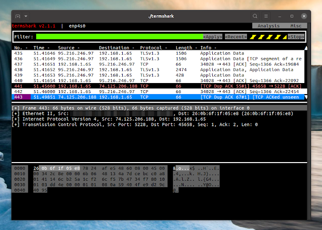 Termshark Wireshark interactive terminal interface