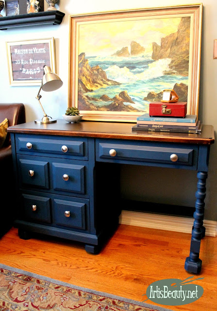 painted makeover blue boho chic velvet finishes desk makeover before and after diy blogger
