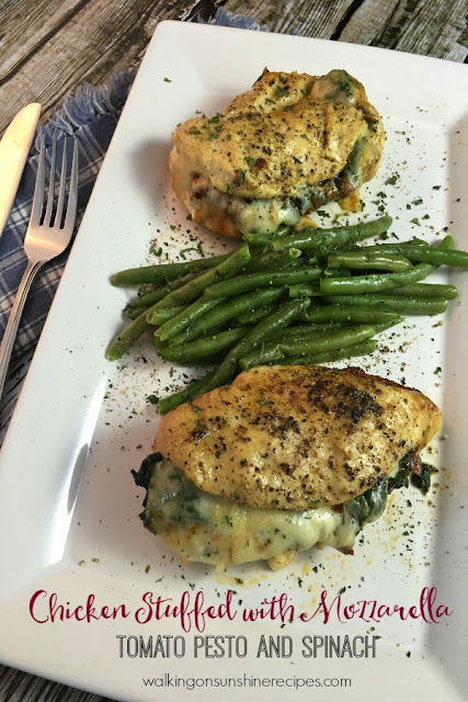 Chicken Stuffed with Mozzarella, Tomato Pesto and Spinach