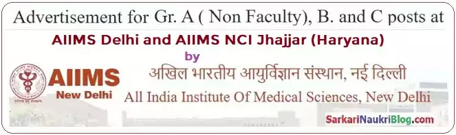 AIIMS Delhi Jhajjar Group A B C Job Vacancy Recruitment