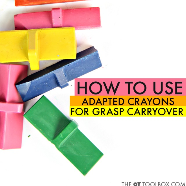 Use adapted crayons to work on carryover of pencil grasp and grasp on a crayon when coloring by helping kids strengthen the fine motor skills they need for handwriting and a functional pencil grasp.