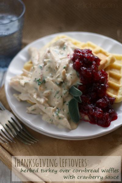 Herbed Turkey over Cornbread Waffles w/ Cranberry Sauce