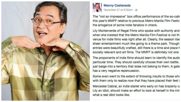 Manny Castaneda under fire for his controversial MMFF comment