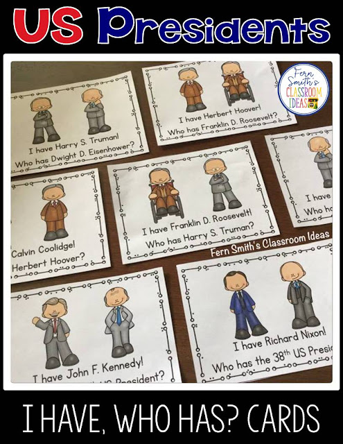 I Have, Who Has? U.S. Presidents Cards, Teacher Directions and a Teacher Answer Key. Including all the presidents from George Washington to Donald Trump. Total of 1 Teacher Direction Sheet, 88 President Cards, and 2 Teacher Answer Keys comes with this resource. An easy version with names only and a more challenging version with names and numbers. Perfect for indoor recess, whole group reading or tutoring after school, add a little fun to your Presidents' Day week.