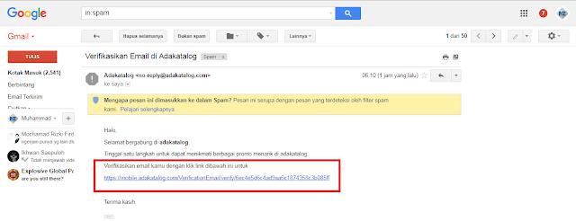 cara verifikasi email dari aplikasi android adakatalog