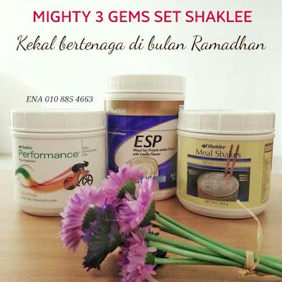 Tips cara kekal bertenaga semasa berpuasa di bulan Ramadhan dengan set puasa shaklee atau Mighty 3 Gems Set Shaklee