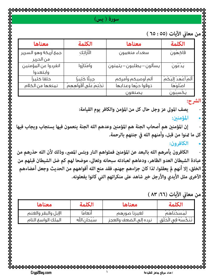 مذكرة مراجعة مادة التربية الدينية