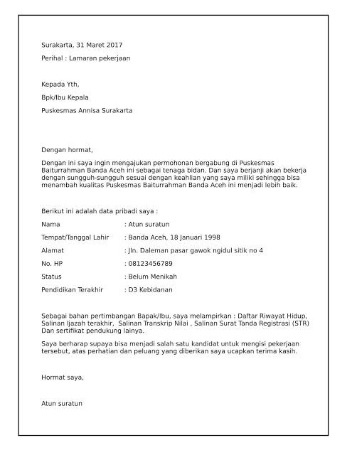 Download Contoh Surat Lamaran Kerja Bidan Tahun 2020