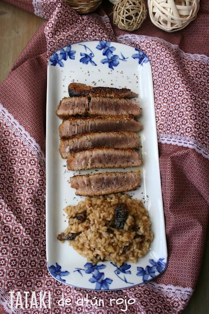 Tataki de atún rojo ,  Arroz cremoso de manzana