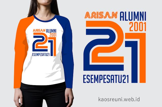 Sablon Kaos Reuni Arisan Alumni 2001 Raglan Panjang Kombinasi Putih Orange Benhur
