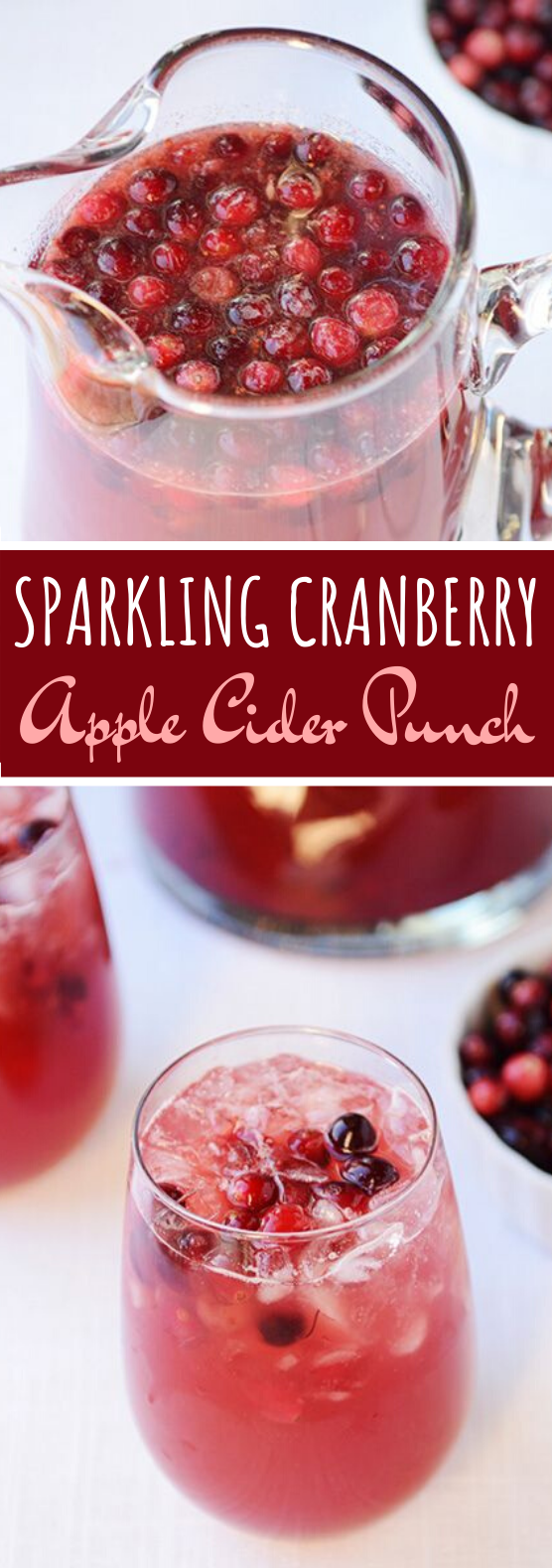 Sparkling Cranberry Apple Cider Punch #drinks #punch #party #nonalcohol #christmas