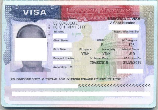 Mẫu visa định cư Mỹ