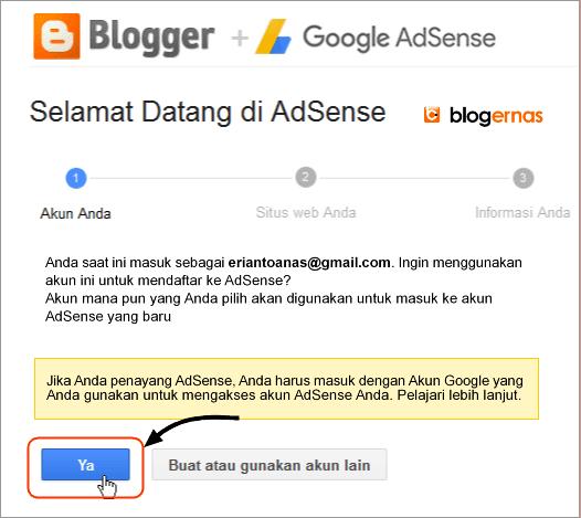 Cara Daftar Adsense dari Dasbor Blogger