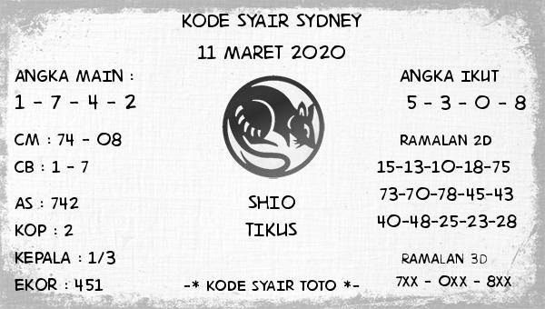 Prediksi Togel Sidney Rabu 11 Maret 2020 - Kode Syair Sydney