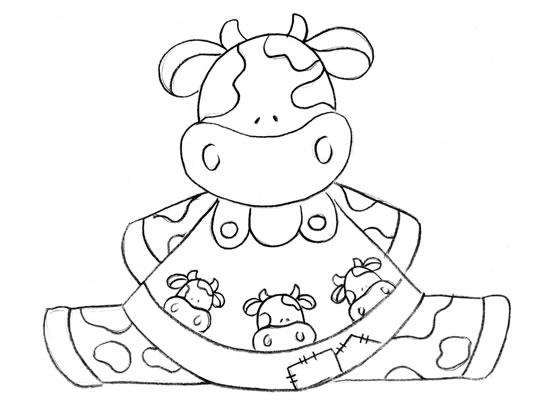 Esbolso Da Vaca Feliz Sorrindo Desenhos Preto E Branco