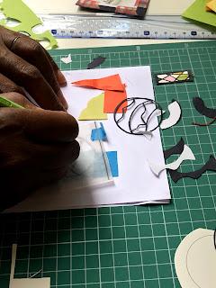 影織の切り絵出張ワークショップ風景
