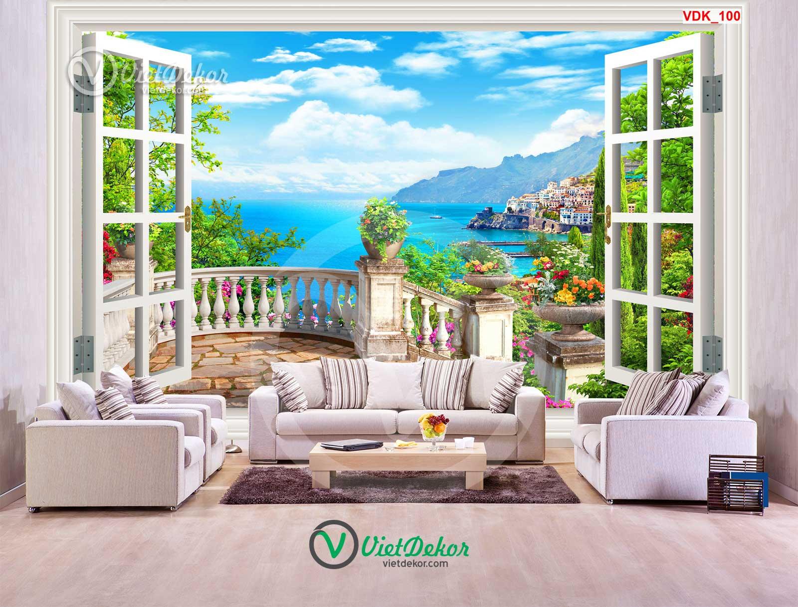 Tranh dán tường 3d cửa sổ phong cảnh biển