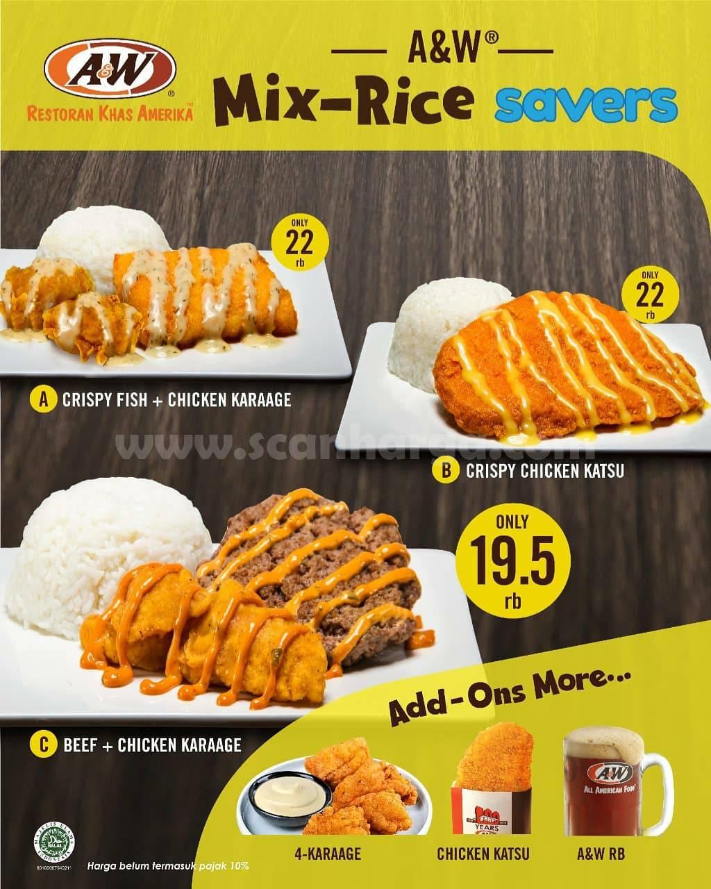 A&W Mix-Rice Savers Menu Baru! Harga mulai Rp 19.500*