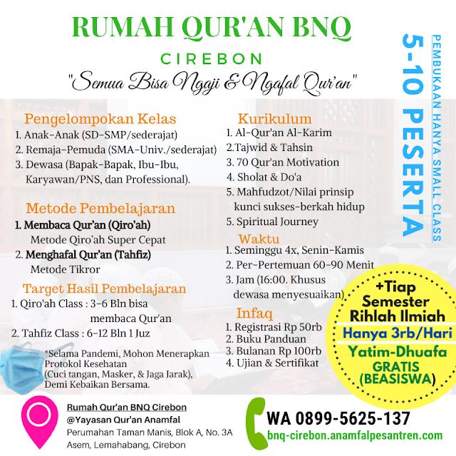 Pendaftaran Rumah Quran BNQ Cirebon 2021