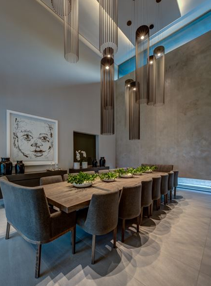 Beautiful and elegant dining room with modern lamps