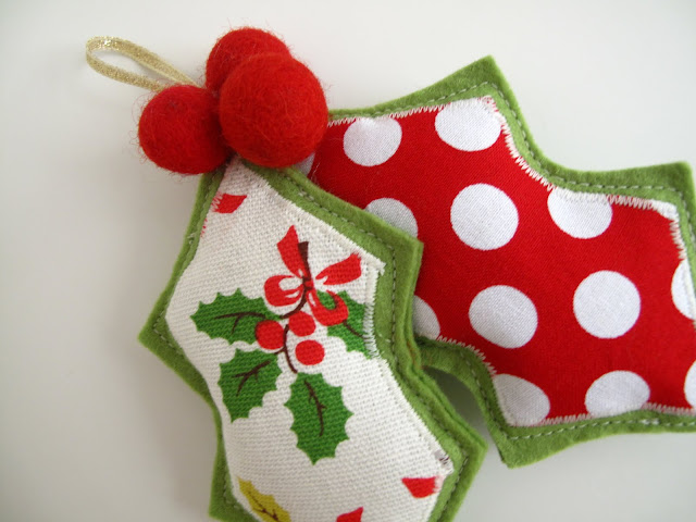 felt and fabric holly ornament