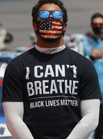 'I Can't Breathe - Black Lives Matter' T-Shirt as worn by Bubba Wallace, the only Black NASCAR driver. PYGOD.COM