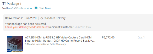 ACASIS Capture Card Order and Delivery from Lazada