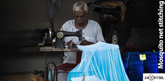 Stitching mosquito net at Kashimnagar