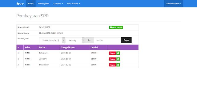 Aplikasi pembayaran SPP Sekolah SMK Versi Bootstrap php mysql