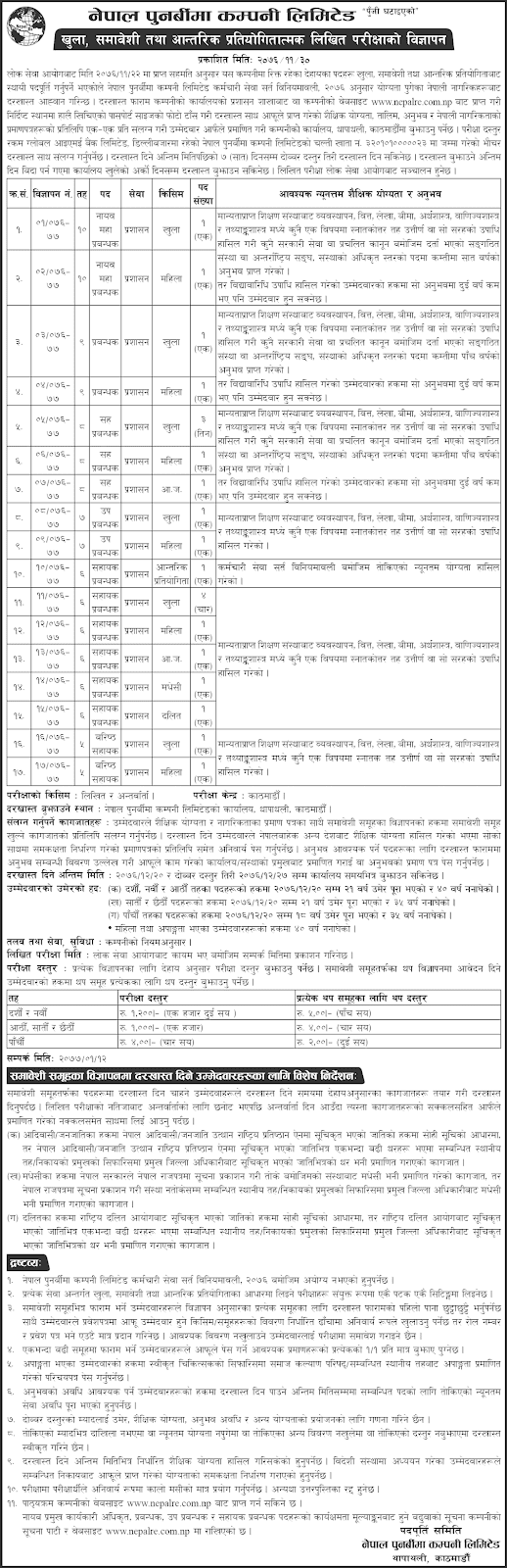 Nepal Re-Insurance Company Limited Vacancy for Various Positions