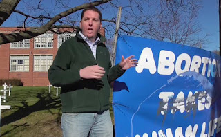 Chris Iverson explains the damage done to a pro-life display at Christian Liberty Academy in Illinois.