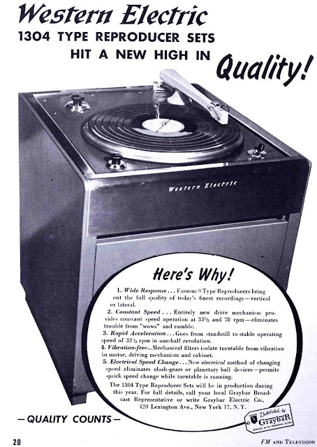 Western Electric 1304 Broadcast Turntable 1947