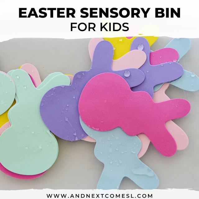 Easter bunny sensory bin for kids