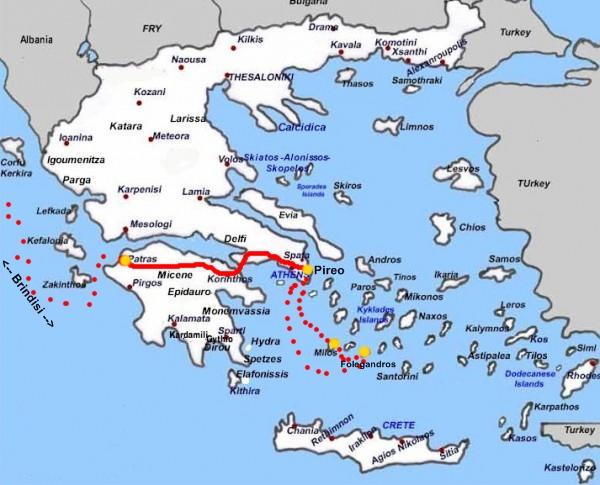 Cartina Puglia Grecia.Due Cuori E Una Moto Grecia Milos Folegandros