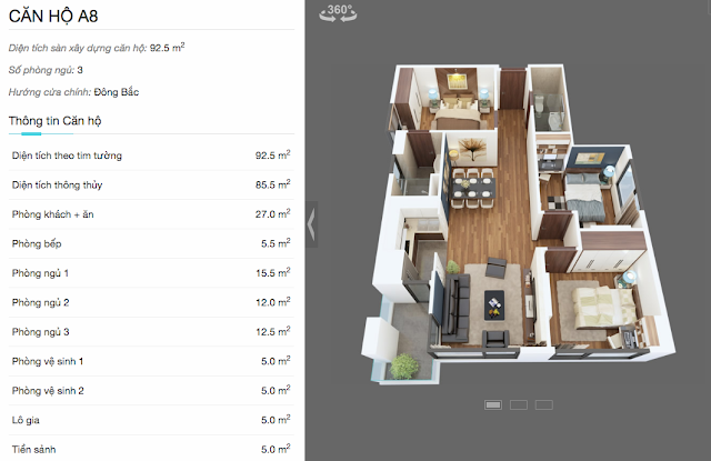 Thiết kế chi tiết căn A8 chung cư The Legend