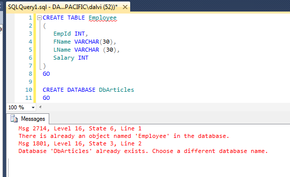 Create and drop sql server table pro grammatically using for Table design sql
