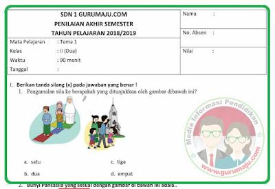 Soal UAS / PAS Kelas 2 Tema 1 Kurikulum 2013 Revisi 2018