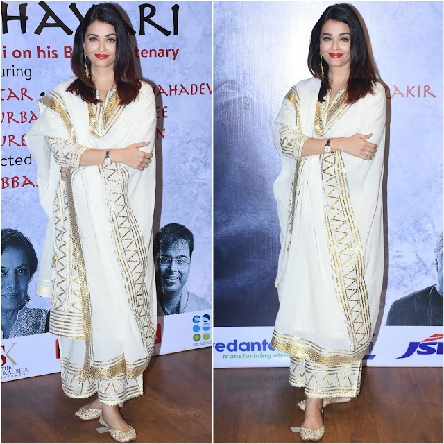 Aishwarya Rai Wore Sukriti and Aakriti for a Raag Shayari Event