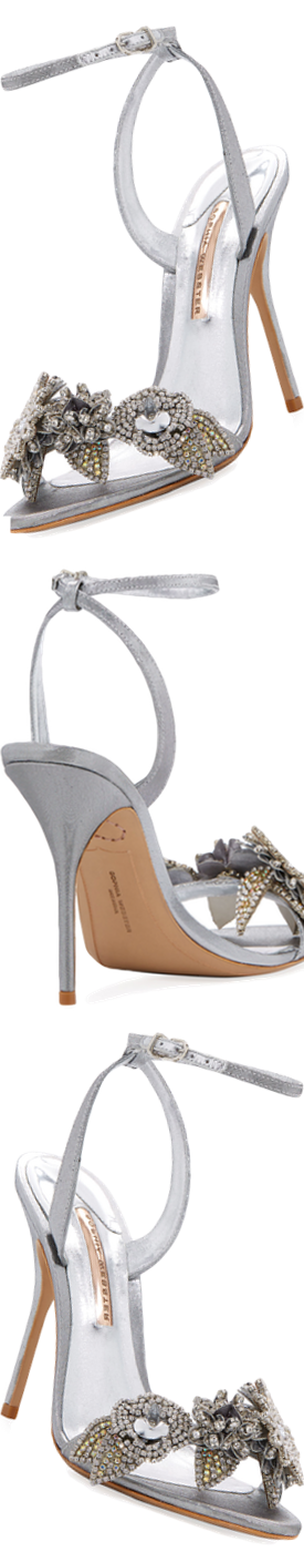 Sophia Webster Beaded Lamé Ankle-Wrap Sandal, Silver