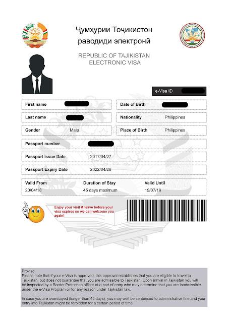 Central Asia Tourist Visa as Philippine Passport Holder (Tajikistan E-Visa))
