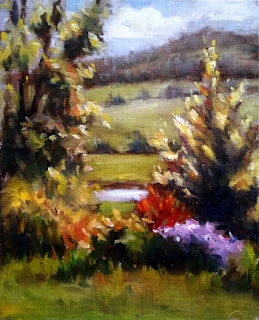 Oil painting of a garden dominated by sun shining through new oak leaves.  A wooded hill is in the distance.
